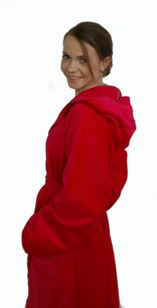 Sportlicher Bademantel mit Kapuze aus 100% Baumwolle in Rot