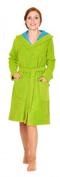 Damen Bademantel softvelours in kurz mit Kapuze in grün
