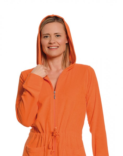 damen hauskleid badejacke mit zip in orange damen bademantel badem ntel. Black Bedroom Furniture Sets. Home Design Ideas
