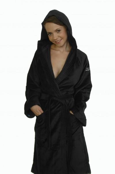 bademantel mit kapuze in schwarz von benetton solis velours badem ntel badem ntel. Black Bedroom Furniture Sets. Home Design Ideas