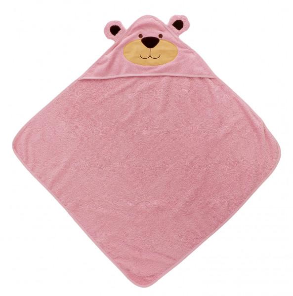Baby Badetuch mit Kapuze  Baer Pink