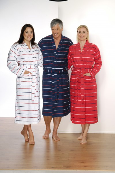 Walkfottee Wellness Bademantel für Damen und Herren in Weiß. Marine Blau oder Rot von Otto Werner