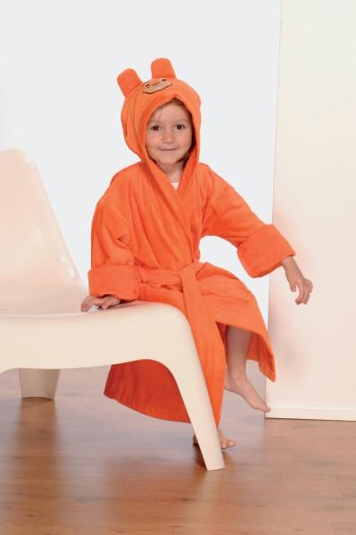 Kind mit Bademantel mit Kapuze mit Ohren orange