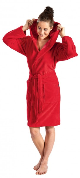 Damen Bademantel softvelours in kurz mit Kapuze in ro
