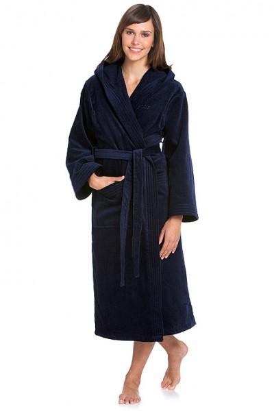bademantel mit kapuze in dunkelblau von esprit velours badem ntel badem ntel. Black Bedroom Furniture Sets. Home Design Ideas