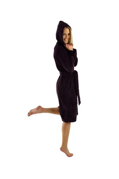 Damen Bademantel mit Reißverschluss und Kapuze, burgund, Patrizia