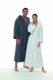 Bademantel für Damen und Herren mit Kapuze extra lang, schwere Qualitätin, Grösse large