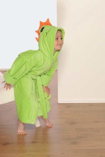 Kinderbademantel mit kapuze grünn