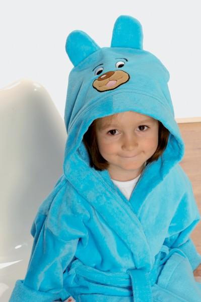 Kind im Bademantel mit Bären Kapuze und Bärchen Ohren | Blauer Kinderbademantel